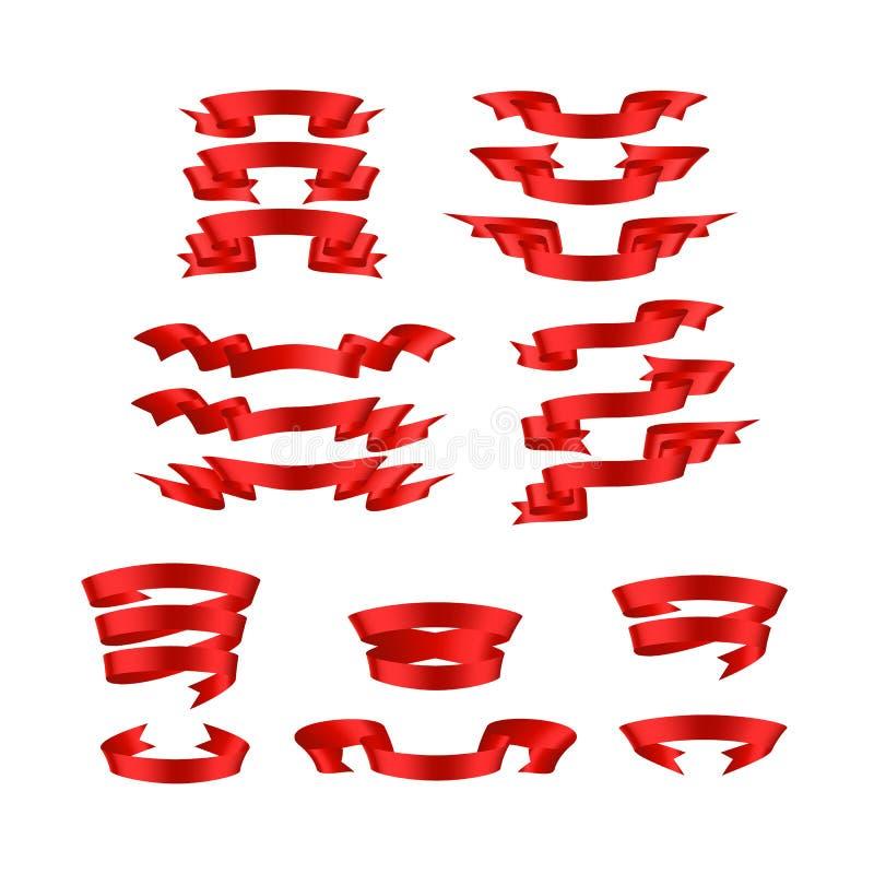 Vermelho com sombra e grupo da bandeira do vetor da fita do inclinação fotografia de stock royalty free