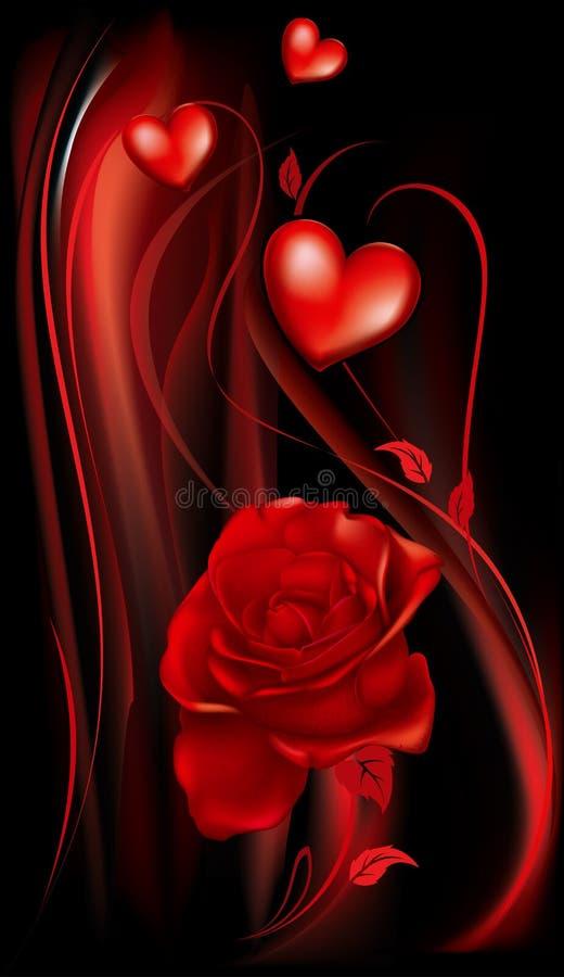 Vermelho cor-de-rosa e coração ilustração royalty free