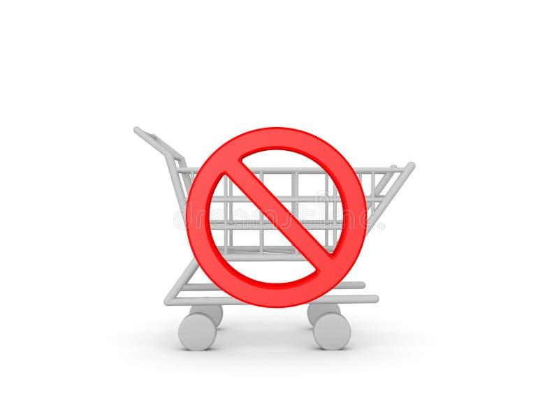 vermelho 3D nenhum símbolo através de um carrinho de compras ilustração stock