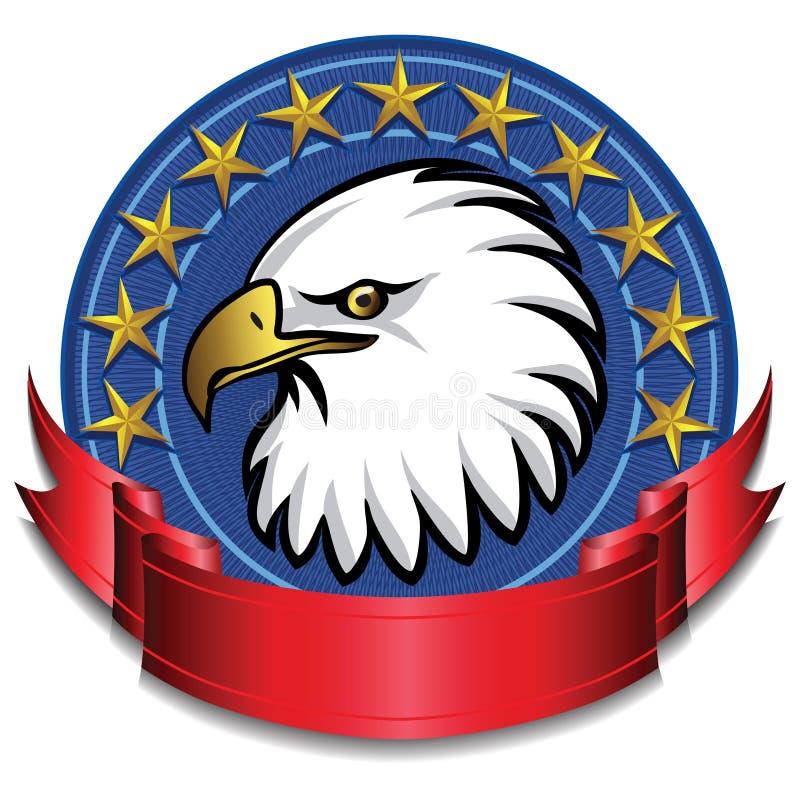 Vermelho da bandeira da águia ilustração royalty free