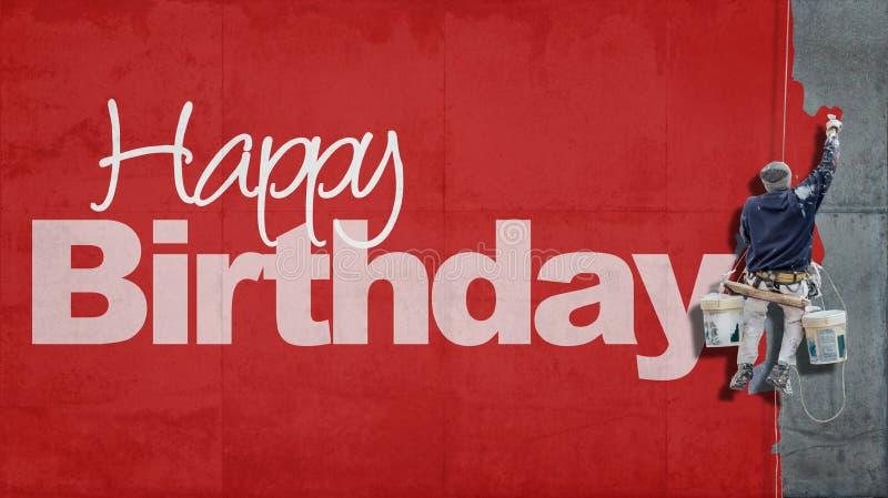 Vermelho da parede do feliz aniversario foto de stock royalty free