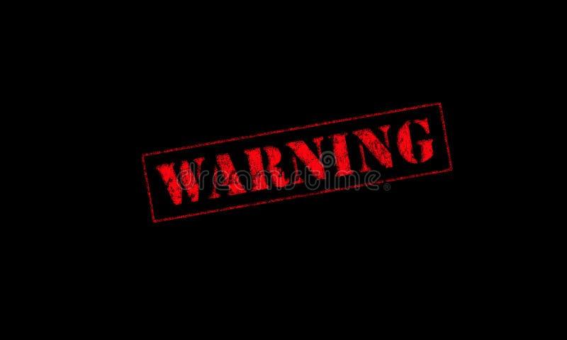 vermelho de advertência do carimbo de borracha em um fundo preto fotos de stock