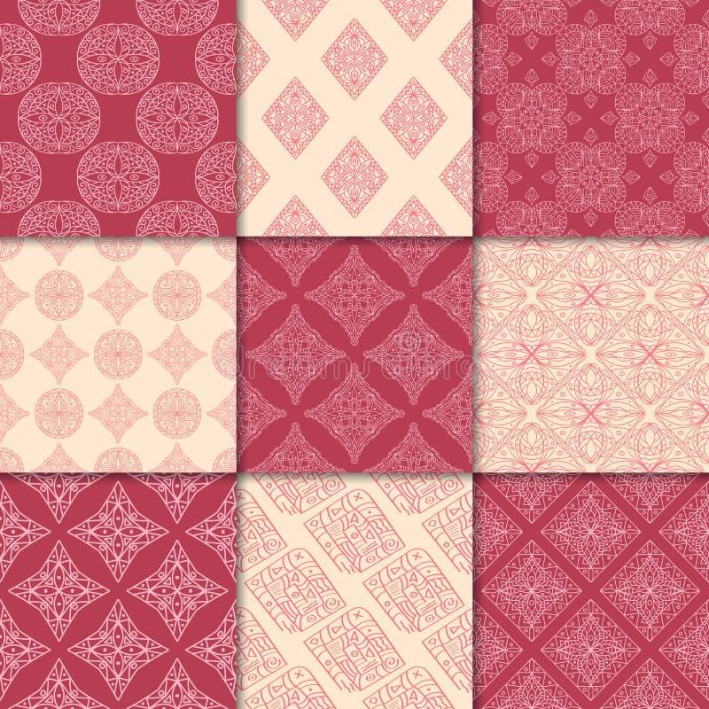 Vermelho de cereja e ornamento geométricos bege Coleção de testes padrões sem emenda ilustração do vetor