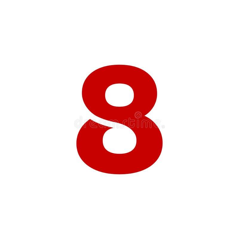 Vermelho de Logo Number 8 do vetor ilustração do vetor
