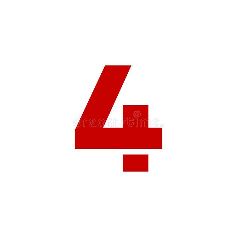 Vermelho de Logo Number 4 do vetor ilustração royalty free