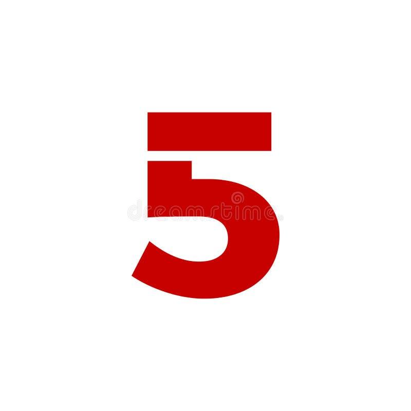 Vermelho de Logo Number 5 do vetor ilustração do vetor