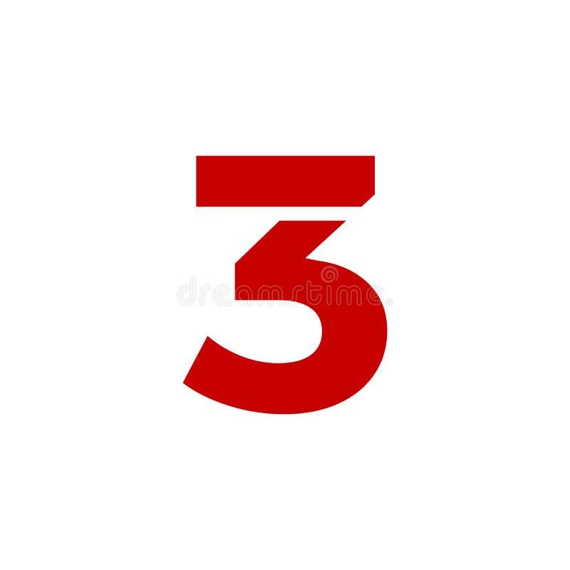 Vermelho de Logo Number 3 do vetor ilustração do vetor
