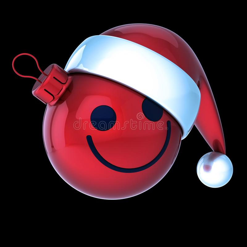 Vermelho de sorriso do emoticon da bola do Natal da cara Quinquilharia alegre do Xmas do ano novo ilustração do vetor