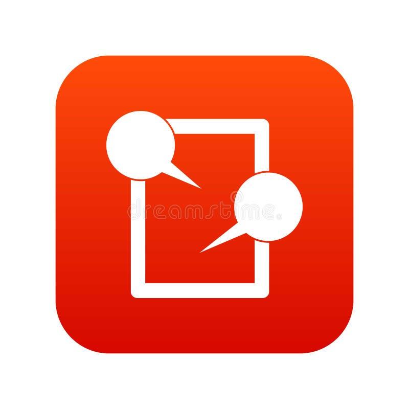 Vermelho digital de conversa do ícone da tabuleta ilustração royalty free