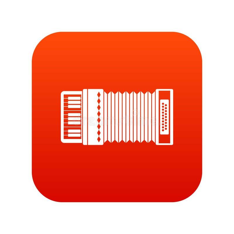 Vermelho digital do ícone do acordeão ilustração royalty free