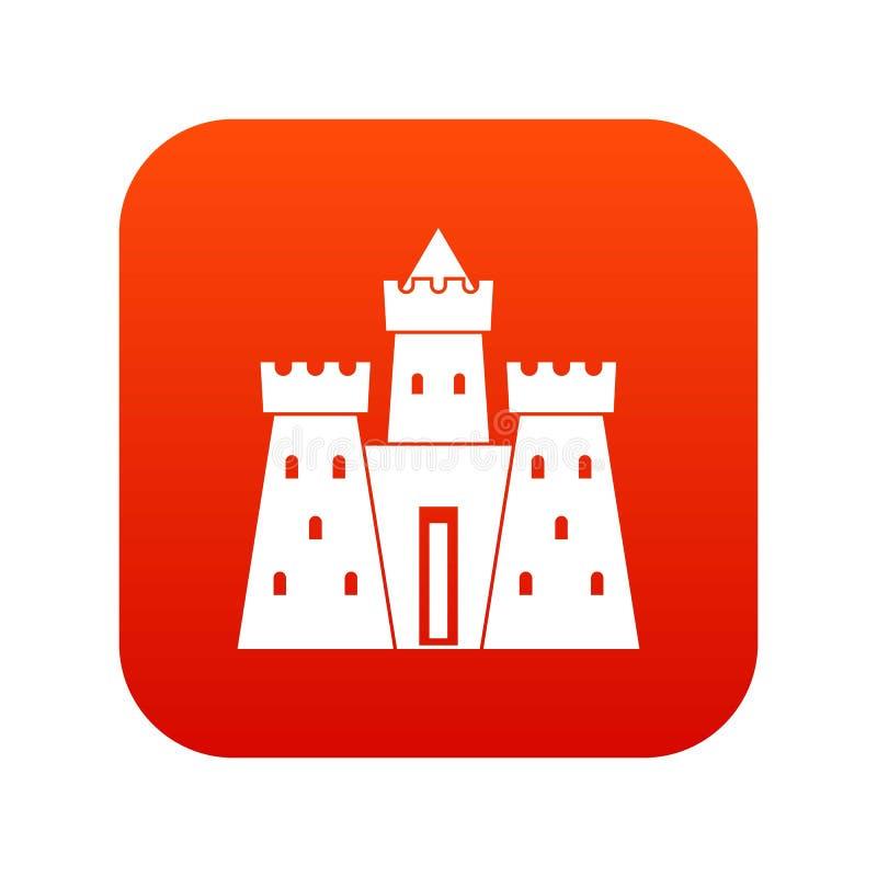 Vermelho digital do ícone antigo do palácio do castelo ilustração do vetor