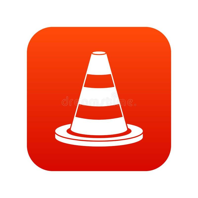 Vermelho digital do ícone do cone do tráfego ilustração stock