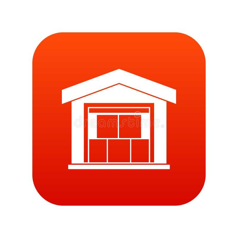 Vermelho digital do ícone da construção do armazém ilustração royalty free