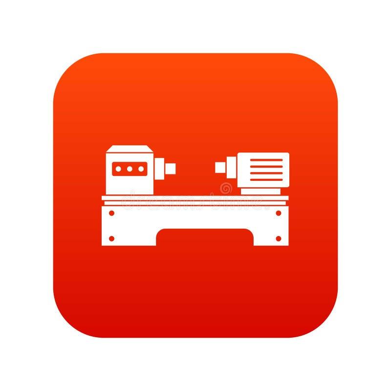Vermelho digital do ícone da máquina do torno ilustração royalty free