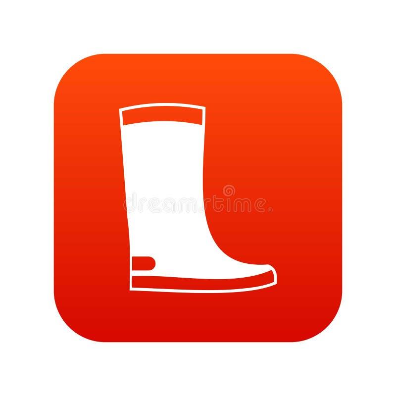 Vermelho digital do ícone das botas de borracha ilustração do vetor