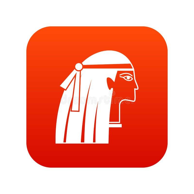 Vermelho digital do ícone egípcio da menina ilustração do vetor