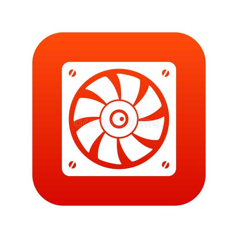 Vermelho digital do ícone do fã do computador ilustração royalty free