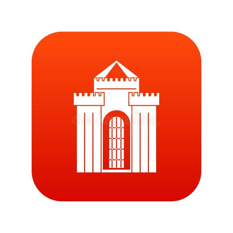 Vermelho digital do ícone medieval do palácio ilustração stock