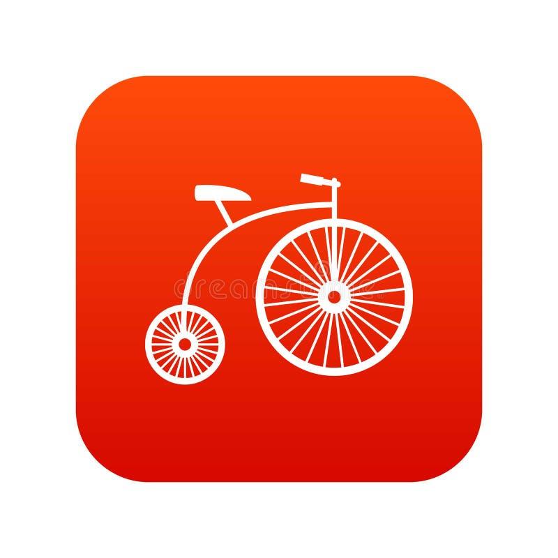 vermelho digital do ícone do Moeda de um centavo-farthing ilustração royalty free