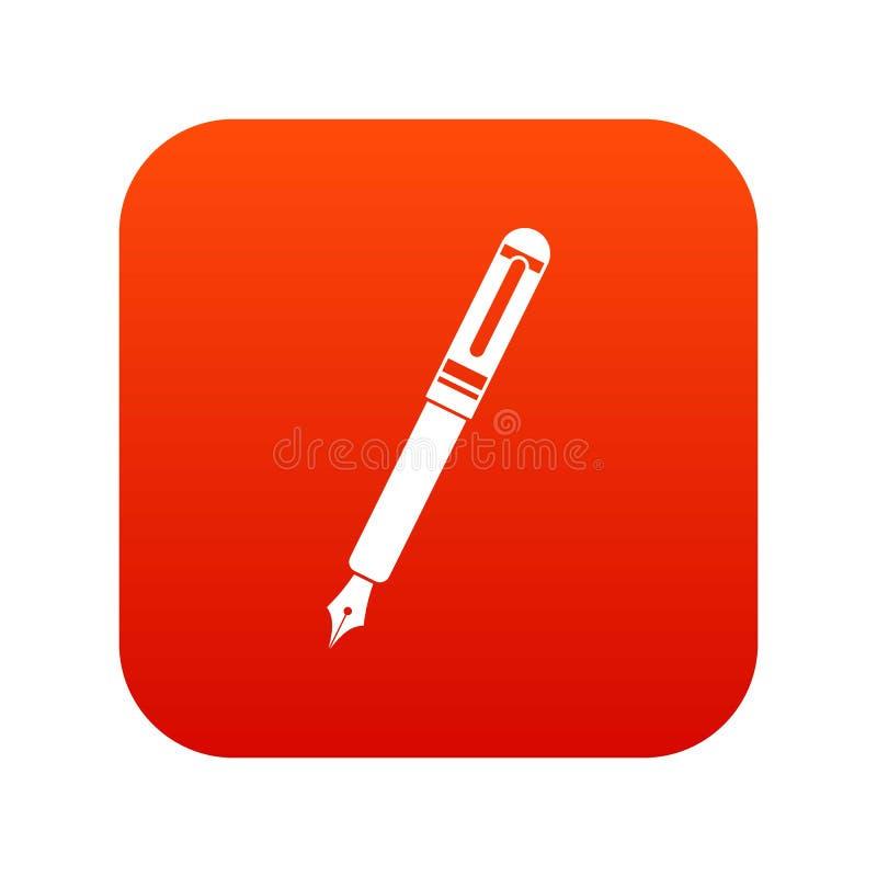 Vermelho digital do ícone preto da pena de fonte ilustração stock