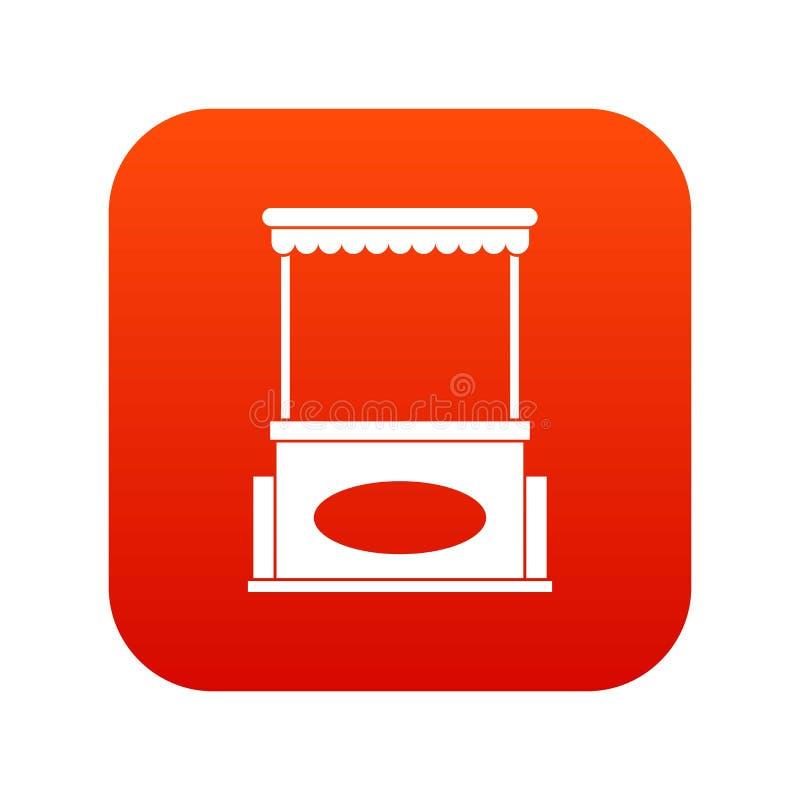 Vermelho digital do ícone do quiosque da rua ilustração royalty free