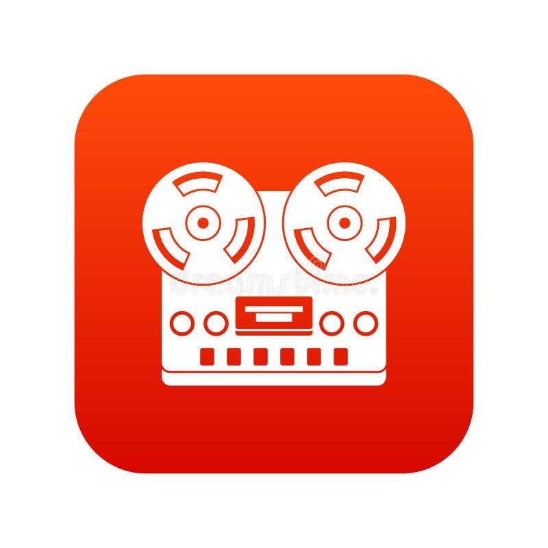 Vermelho digital do ícone retro do gravador ilustração do vetor