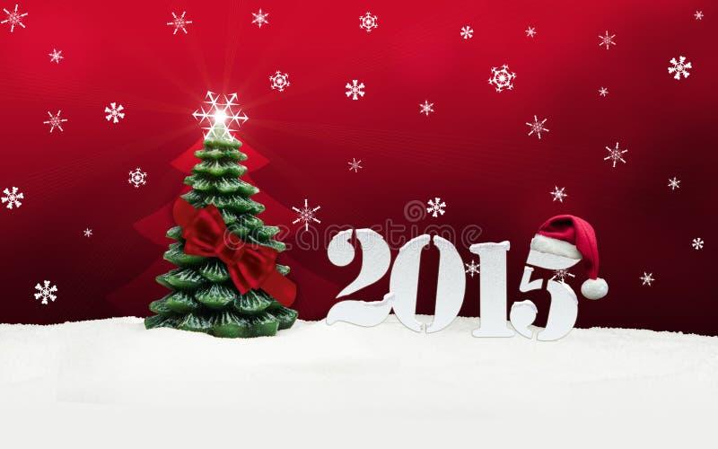 Vermelho do ano novo feliz 2015 de árvore de Natal ilustração stock
