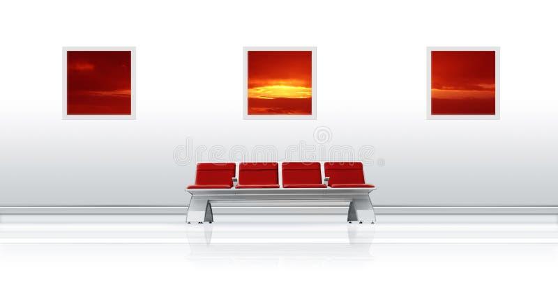 Vermelho do assento do aeroporto foto de stock