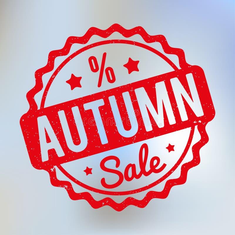 Vermelho do carimbo de borracha de Autumn Sale em um fundo do bokeh do lila ilustração royalty free