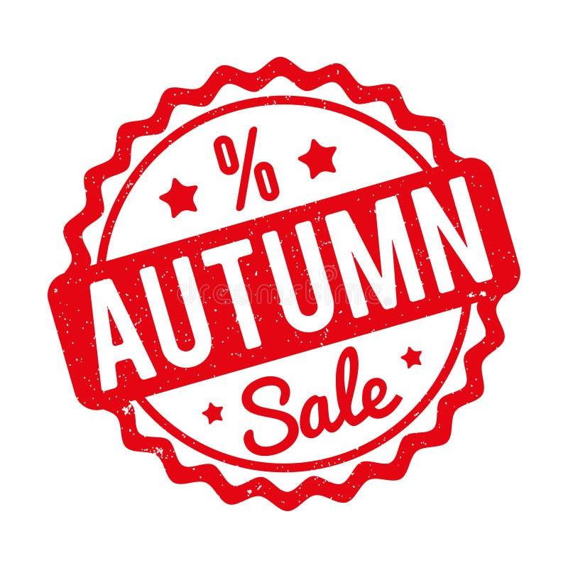 Vermelho do carimbo de borracha de Autumn Sale em um fundo branco ilustração do vetor