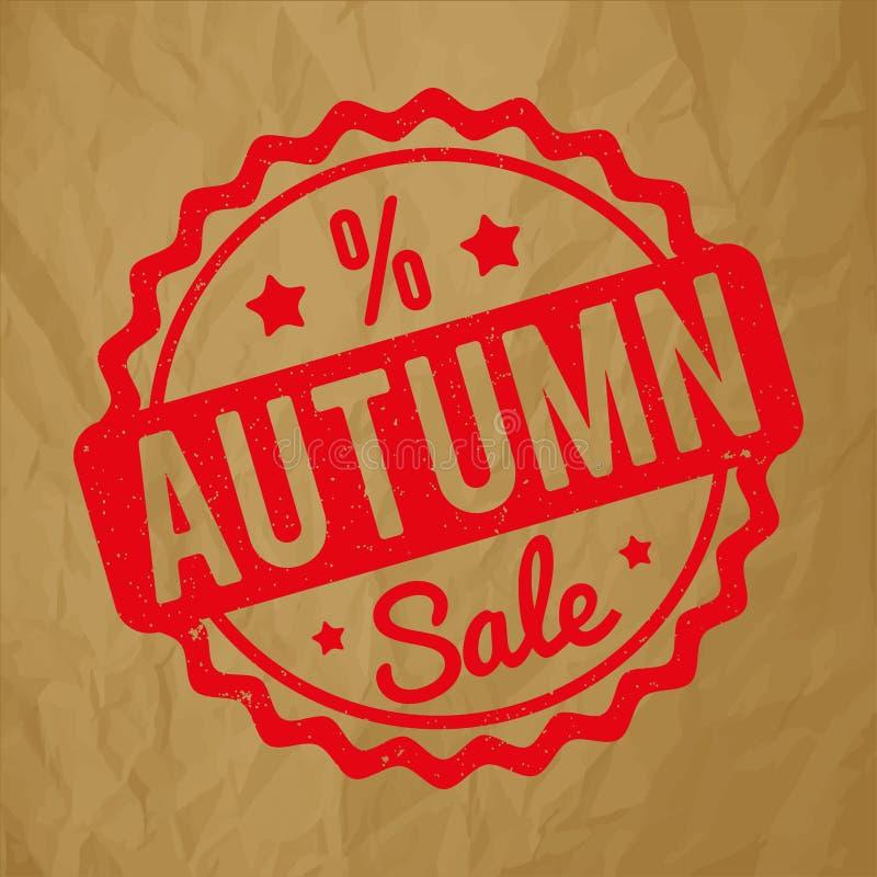 Vermelho do carimbo de borracha de Autumn Sale em um fundo marrom de papel amarrotado ilustração royalty free