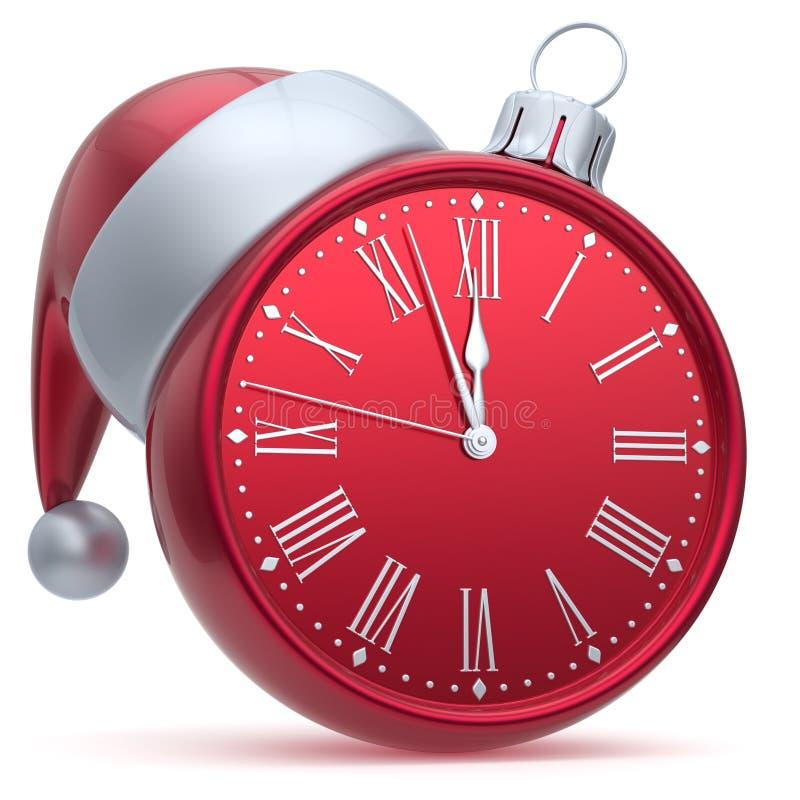 Vermelho do chapéu de Santa do tempo da véspera de Ano Novo do despertador da bola do Natal ilustração stock