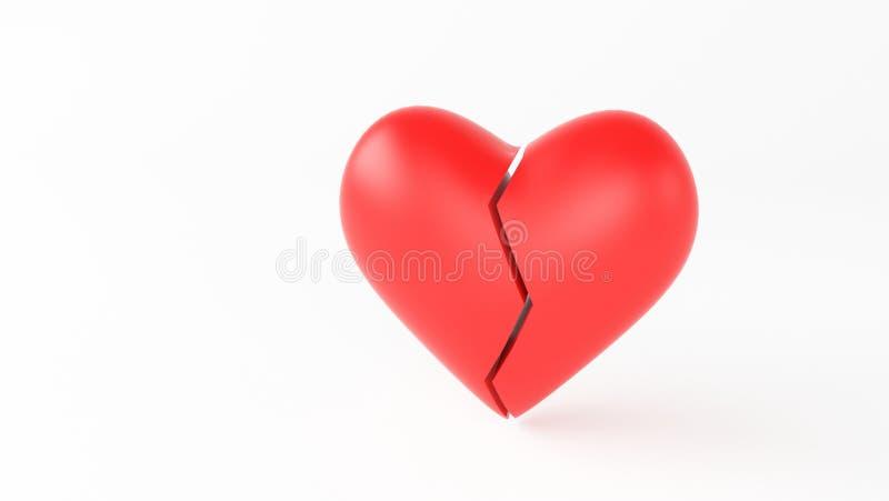 vermelho do coração da ruptura fotos de stock