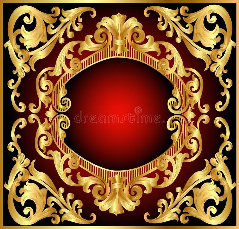 Vermelho do frame do fundo com teste padrão do ouro (en) ilustração do vetor