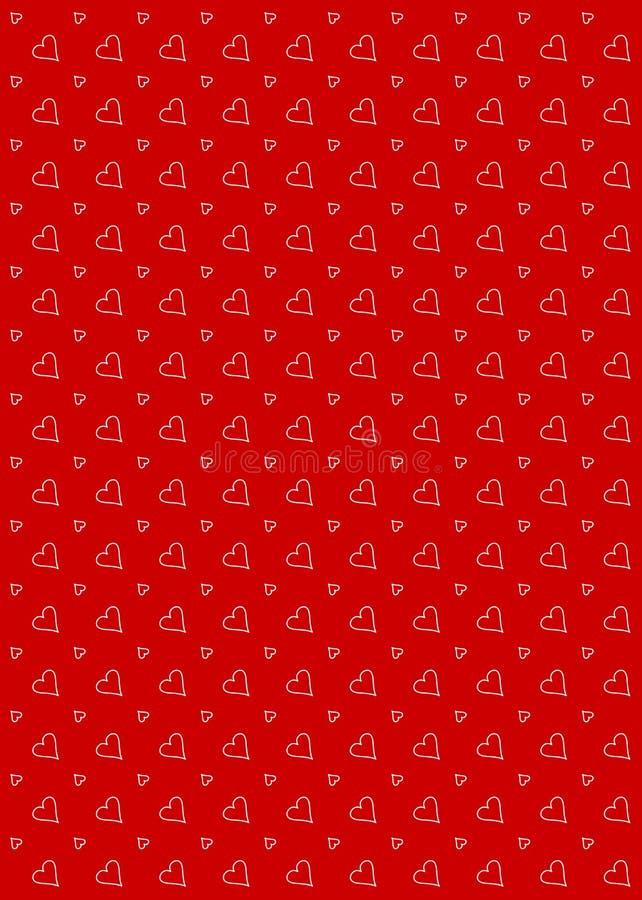 Vermelho do fundo do teste padrão do coração ilustração stock