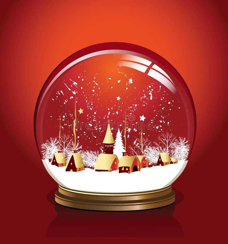 Vermelho do globo da neve do vetor ilustração do vetor