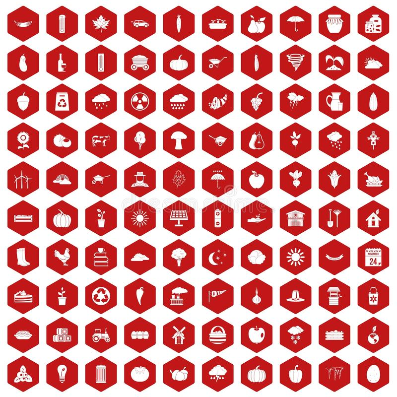 vermelho do hexágono de 100 ícones da abóbora ilustração do vetor