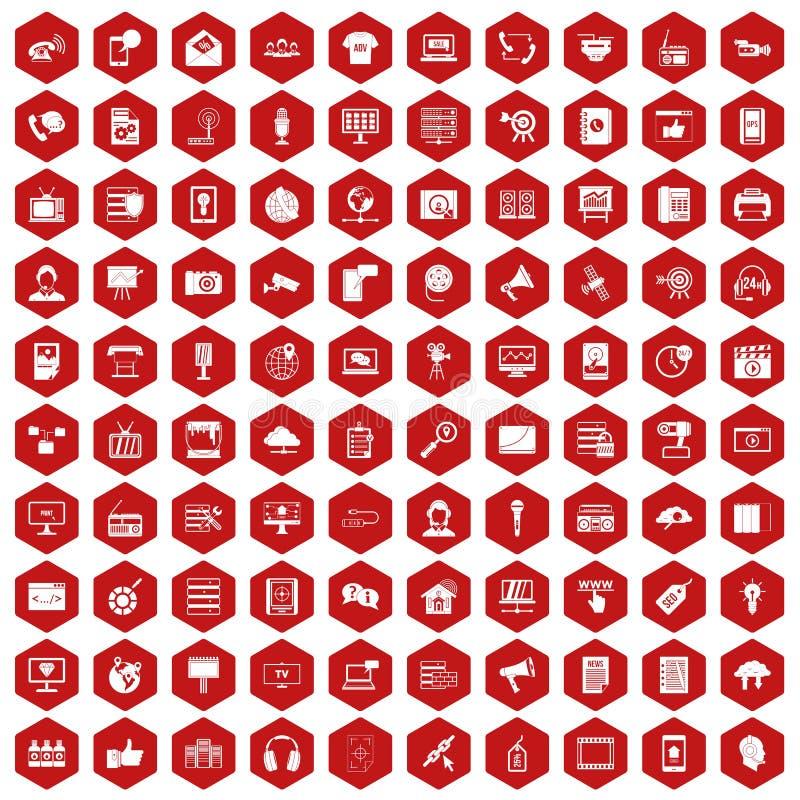 vermelho do hexágono de 100 ícones da tecnologia da informação ilustração stock