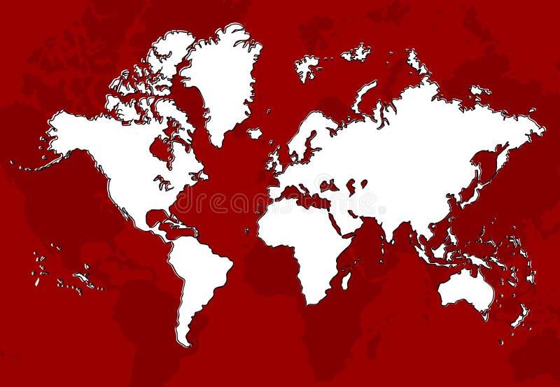 Vermelho do mapa de mundo ilustração royalty free