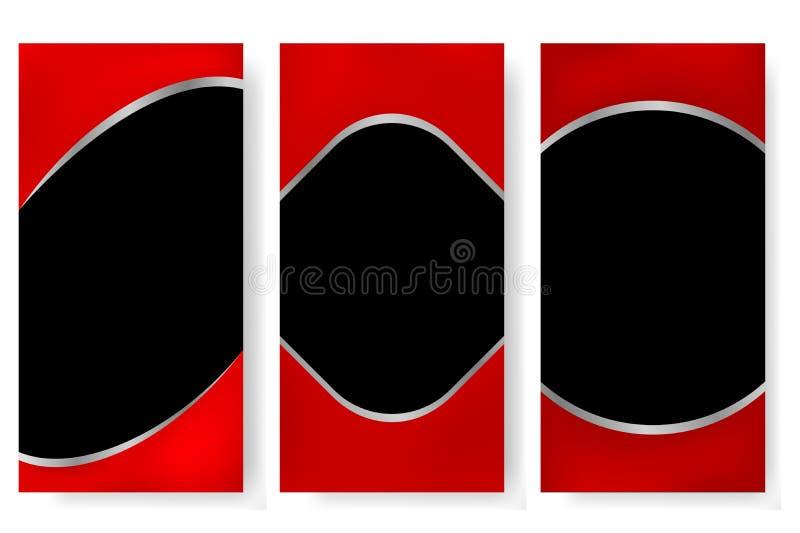 Vermelho do molde de três verticais e bandeira ou contexto do evento do cromo ilustração do vetor