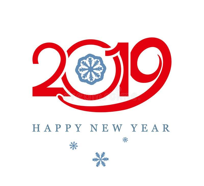 Vermelho 2019 do molde do projeto e flocos de neve Ano novo feliz ilustração stock