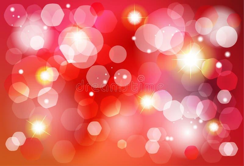 Vermelho do Natal e convite do efeito das luzes do bokeh do ouro ilustração do vetor