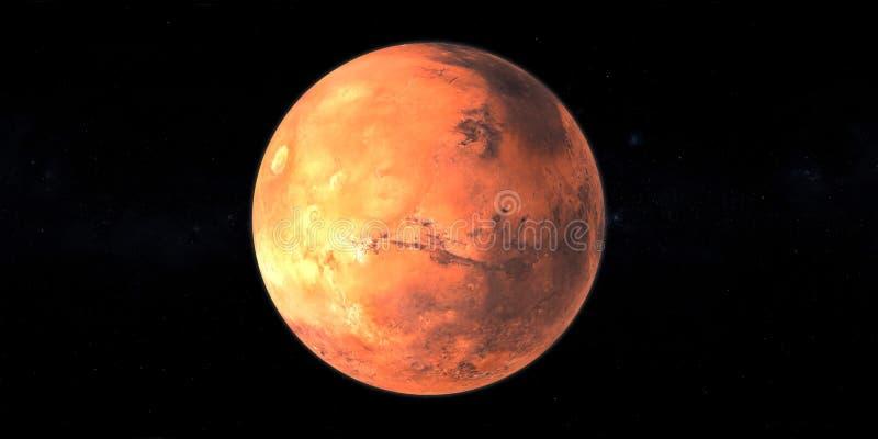 Vermelho do planeta de Marte no fundo preto do espaço ilustração do vetor