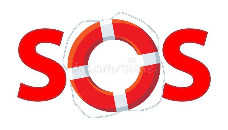 Vermelho do SOS ilustração do vetor