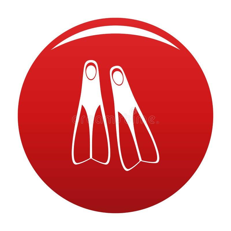 Vermelho do vetor do ícone das aletas ilustração do vetor