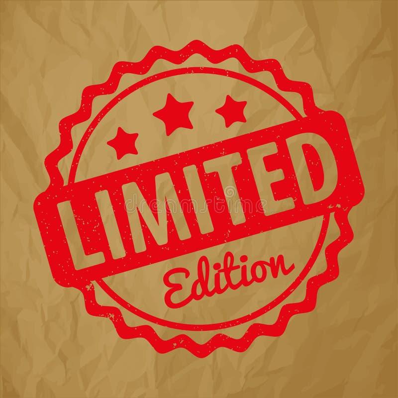 Vermelho do vetor da concessão do carimbo de borracha da edição limitada em um fundo marrom de papel amarrotado ilustração royalty free