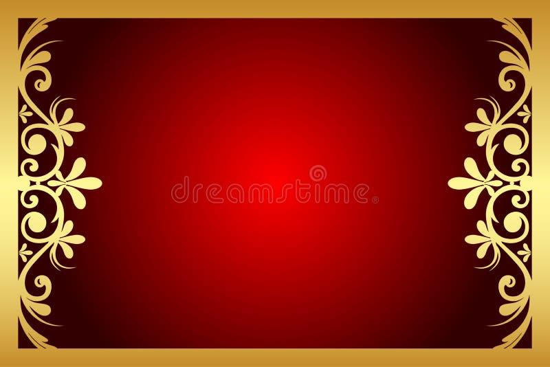 Vermelho e quadro floral do ouro ilustração royalty free