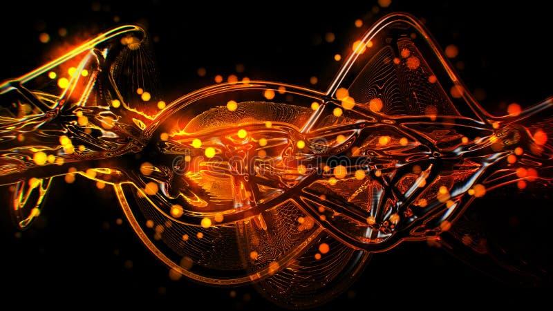 Vermelho dourado futurista do sumário e ondas de vidro derretidas e ondinha amarelas ilustração do vetor