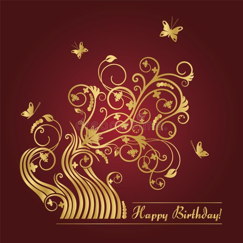 Vermelho e cartão de aniversário floral do ouro ilustração do vetor