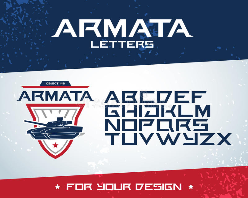 Vermelho e escuro - projeto azul do t-shirt do tanque de Armata do russo Projeto do logotype do tanque, ilustração do vetor Logot ilustração royalty free